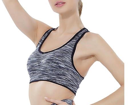 c41ae6827cb56 Winwinus Women Push up Backless Camo High Impact Wire-Free Figure Bra Black  S