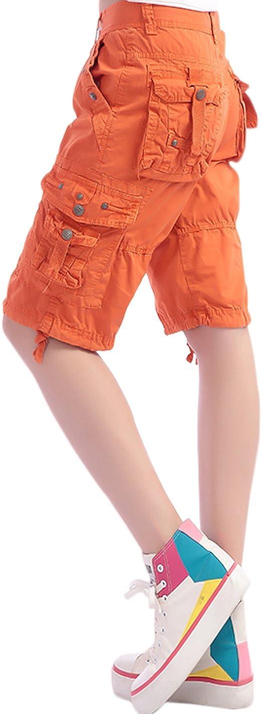 HOWON Womens Casual Loose Fit Twill Bermuda Cargo Shorts Multi Pocket Straight Shorts