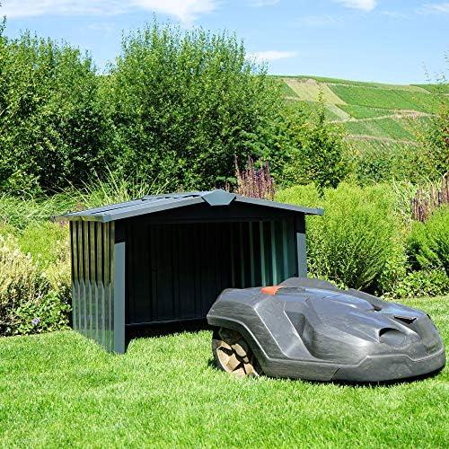 Zelsius Garage Robot tondeuse en métal | 86,5 x 88 x 60 cm | Garage pour robot tondeuse à gazon, robot tondeuse - Home Robots
