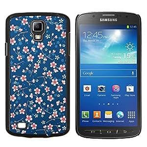 Margarita blanca azul del estampado de flores del papel pintado- Metal de aluminio y de plástico duro Caja del teléfono - Negro - Samsung i9295 Galaxy S4 Active / i537 (NOT S4)