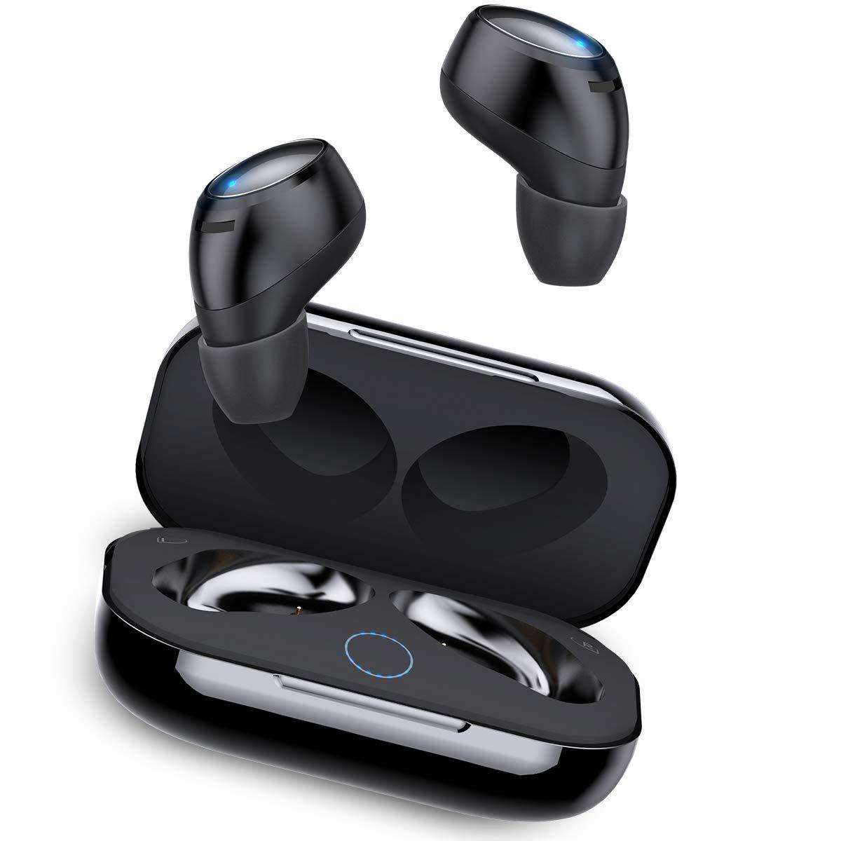Auriculares Bluetooth In-Ear, Rock Mini Twins Estéreo Hi-Fi Manos Libres Auricular Deportivos Inalámbricos IPX5 Cancelación Ruido Micrófono Integrado con Caja de Carga para iPhone iOS Android