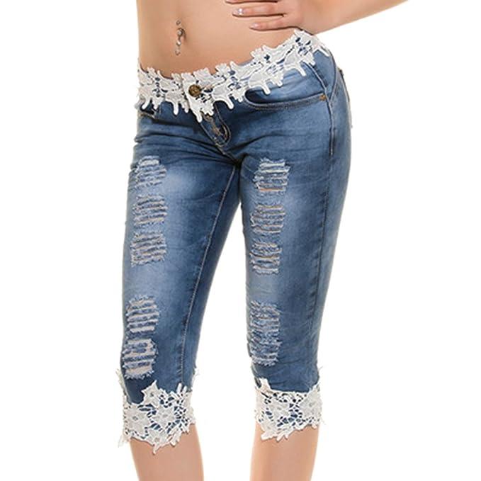 Hibote Vaqueros Mujer Push Up Jeggings de Cintura Baja 3/4 Jeans Rectos con Encaje