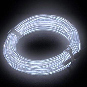 Weiß Lichtschnur Leuchtschnur Leuchtdraht EL Neon Kabel: Amazon.de ...