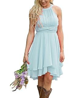 6e69afe4994e XingMeng Short A Line Halter Chiffon Prom Homecoming Bridesmaid Dresses
