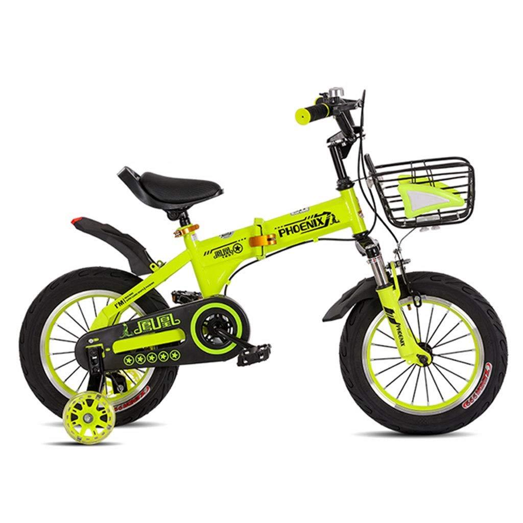 子供用折りたたみ自転車 210歳の子供用自転車 男女学生用自転車 多用途のショックアブソーバー自転車 屋外用サイクリング自転車 (Color : Green, Size : 18in) 18in Green B07P8SPBYK