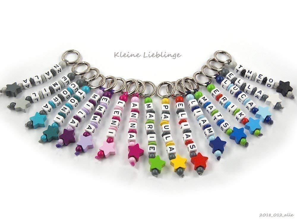 Schlüsselanhänger mit Namen Kinder - Erwachsene - Taschenbaumler - Stern - Schlüsselring - GRATIS Versand - verschiedene Farben