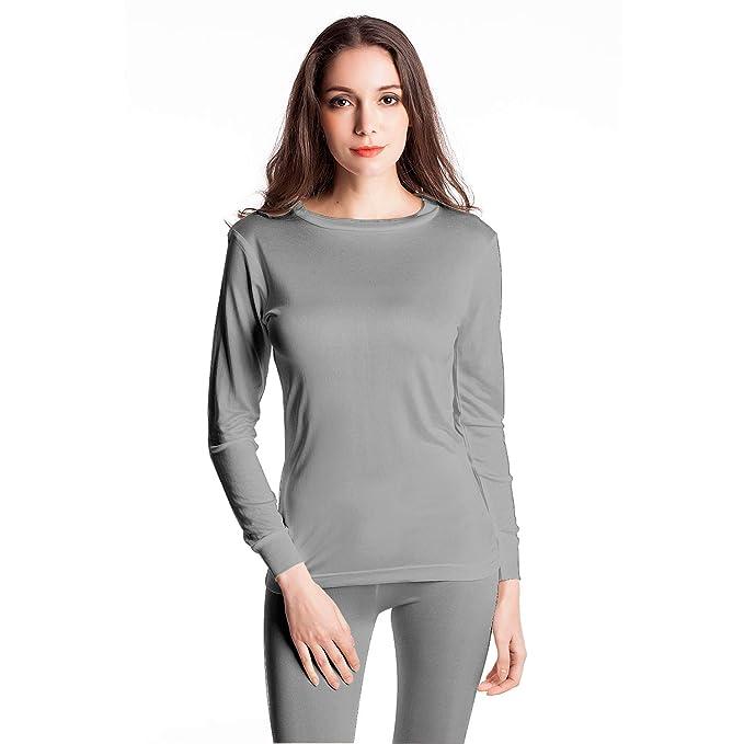 Jasmine Silk Mens Round Neck Pure Silk Thermal Long Sleeves Top Black