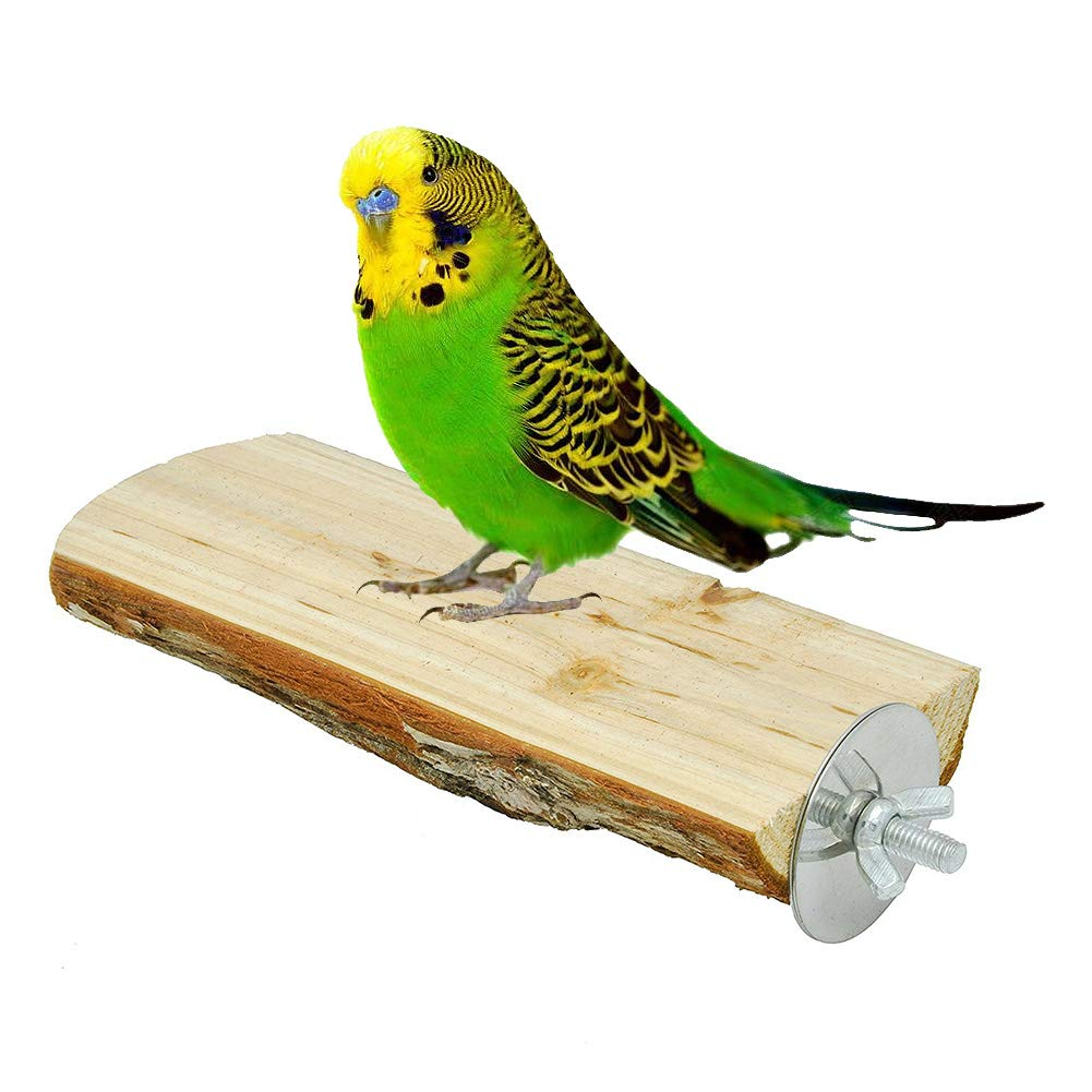 Onebook Wood Perch Bird Platform Pet Parrot Stand Wood Playground Cage Accessories Small Animals Rat Hamster Parakeet Finches Conure Cockatiel Budgie Gerbil Rat Mouse Lovebird Exercise Toys