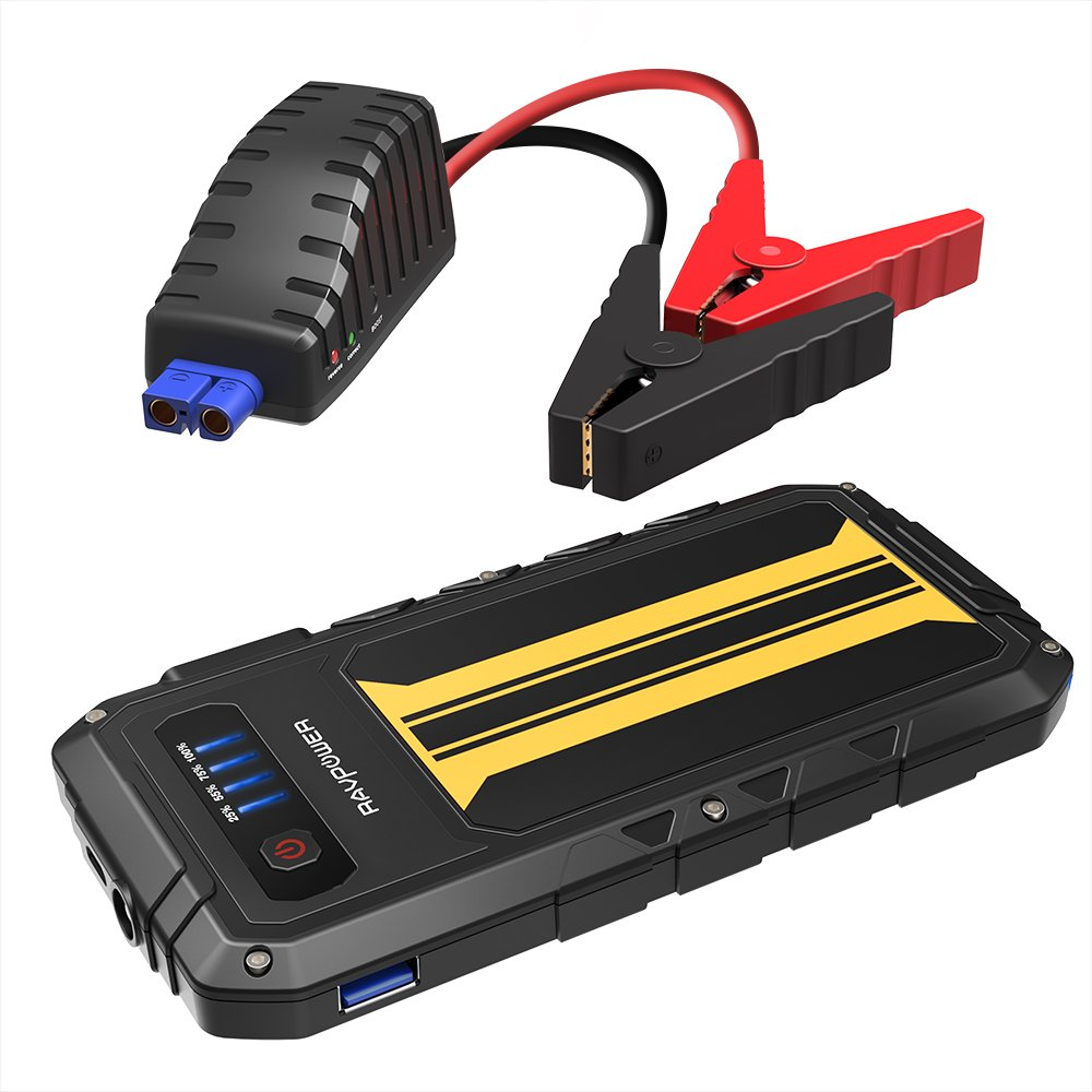 RAVPower 300A Avviatore Auto 8000mAh Jump Starter per Motori a Benzina 12V 2L Power Bank Auto Starter con Quick Charge 3.0, Torcia LED Integrata IT RP-PB007