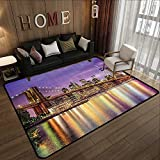 Rugs for Sale,New York,NYC Exquisite Skyline Manhattan Broadway Old Neighborhood Tourist Country Print,Purple Gold 47'x 59' Kitchen Mat