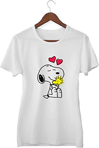 Snoopy Woodstock Love Friends For Ever_KK015605 Shirt T-Shirt Tshirt para Mujeres - White: Amazon.es: Ropa y accesorios