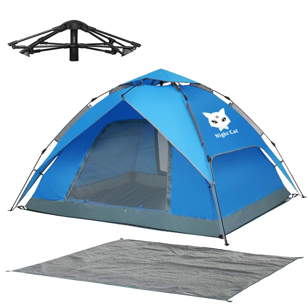Night Cat Waterproof Camping Tent for 1 2 3 4 Person with Footprint Tarp Easy Instant Pop Up Tent Automatic Hydraulic Rainproof Tent with Rain Fly by Night Cat
