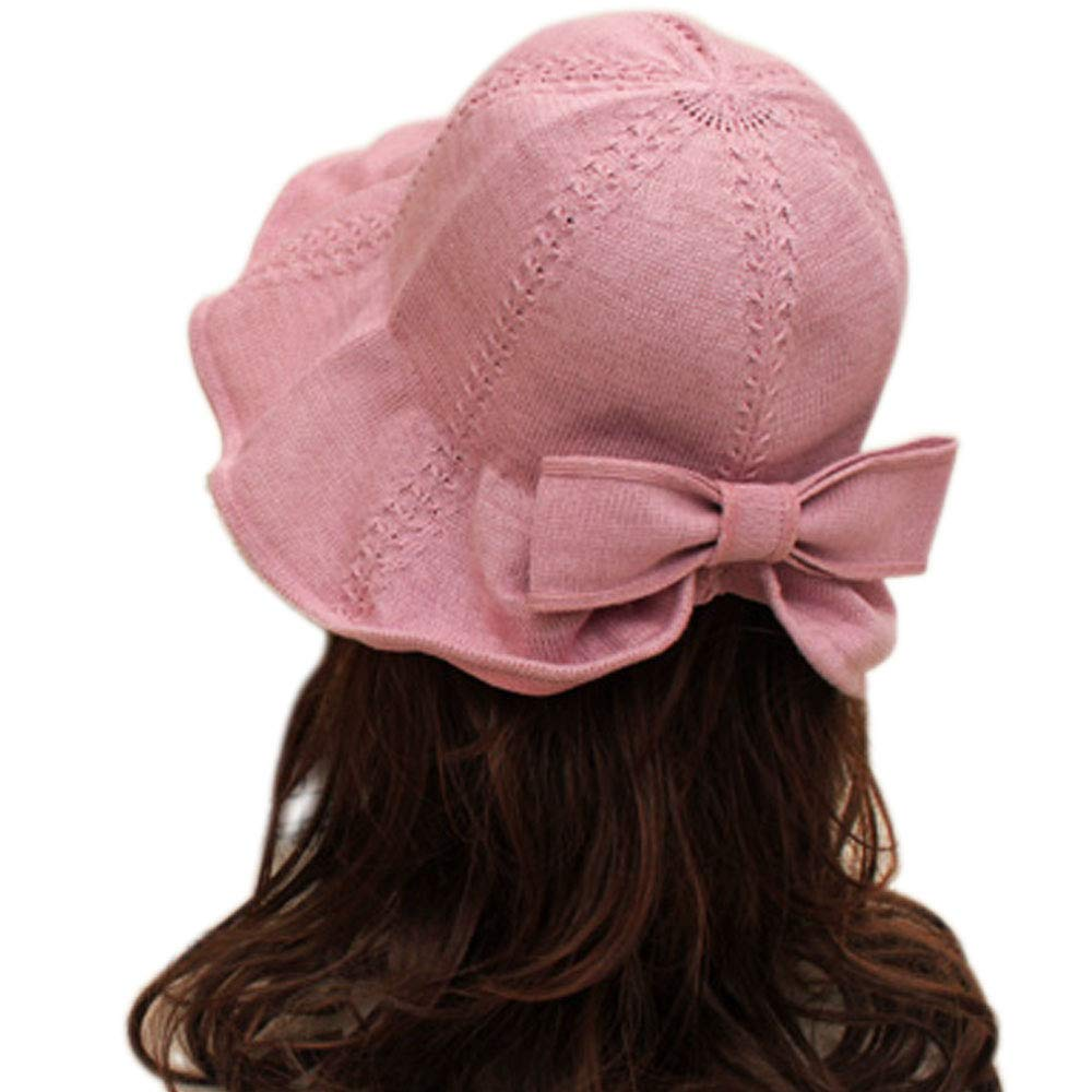 Andy&Esther Cotton Pompom Knit Beanie Hat for Women Wide Brim Bucket Hat Stretchy Winter Hats Bow (Pink, Free)