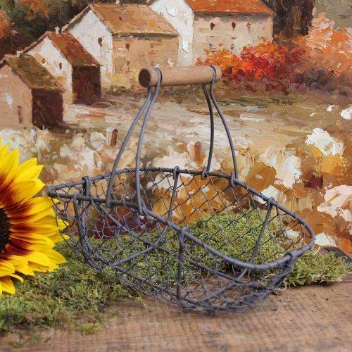[Antique-Style Wire Garden Basket Home Decor] (Gardening Basket)