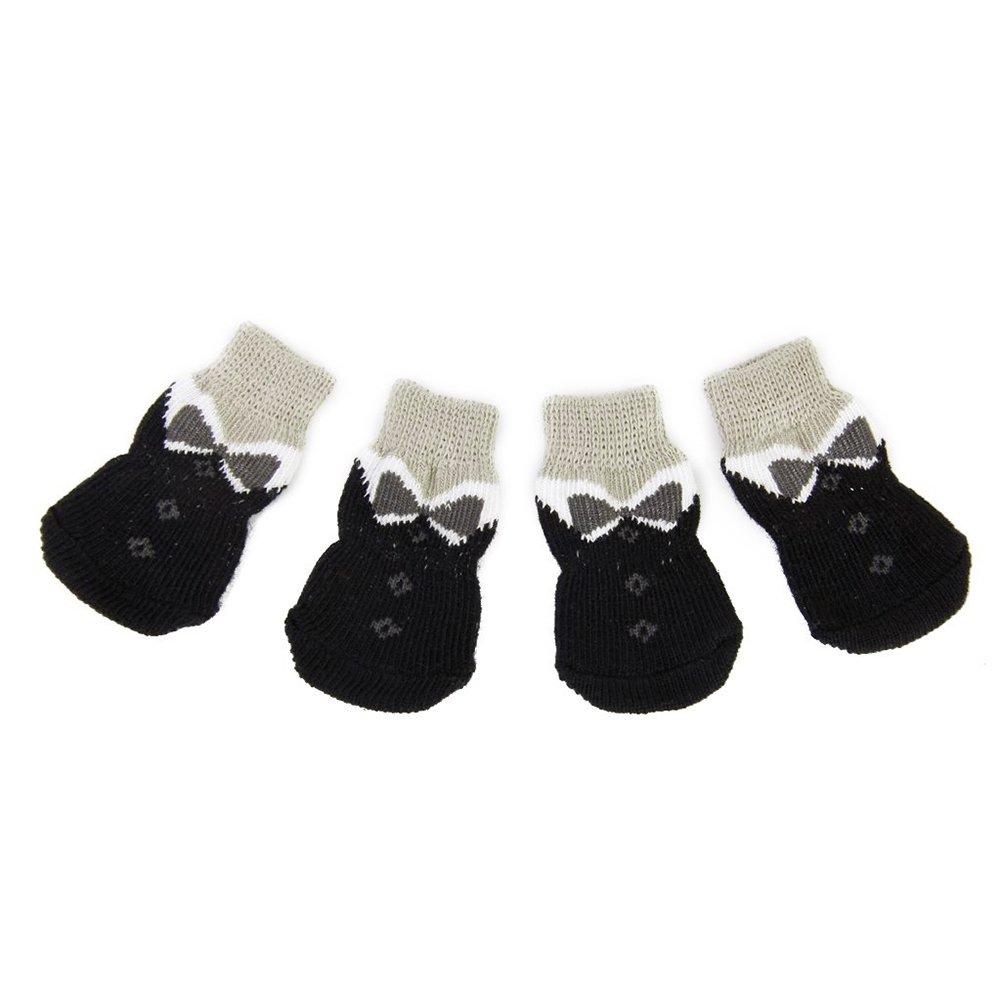 Newin Star 4pcs Chaussettes de Chien Chaussettes Antidérapantes pour Animaux de compagnie-25 * 60mm Jaune