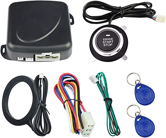 Delaman Motor-Startknopf Keyless Go Start Stop Push Button Motorz/ündschalters Kompatibel mit Mercedes 2215450714 Silber
