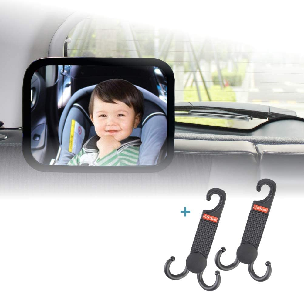 Premium Baby Car Mirror for Back Seat Black Frame ZUGATI Baby Car Mirror Keep an Eye on Your Baby in a Rear Facing Child seat