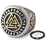 ENXICO Tripple Valknut Ring with Rune Circle Symbol 316L Stainless Steel Norse Scandinavian Viking Jewelry