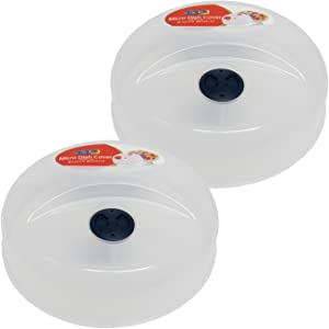 Set of 2 Superior Quality Click Plastic Microwave Plate Cover with Cooling Vent, 9.75