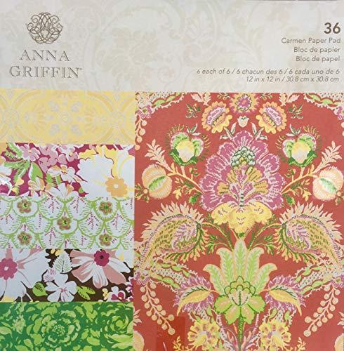 Anna Griffin Carmen Paper Pad 12x12, 36 sheets - Anna Griffin Scrapbook Paper