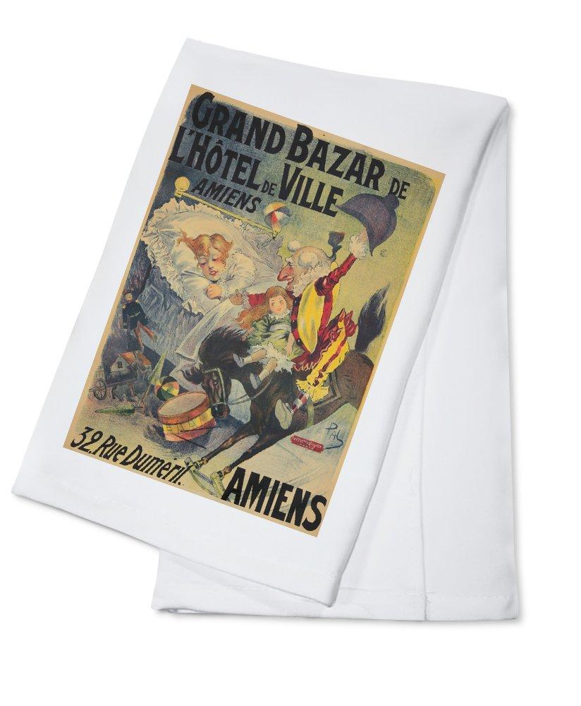 Grand Bazar de l'Hotel de Ville Vintage Poster (artist: Paleologue) France c. 1898 (100% Cotton Kitchen Towel)