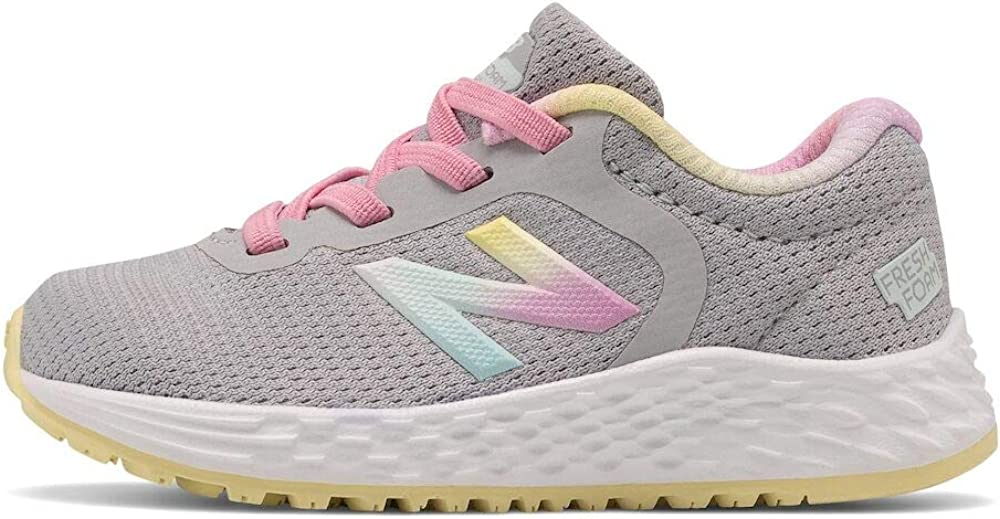 New Balance Girls Fresh Foam Arishi V2 Bungee Running Shoe, Light Aluminum/Pink Lemonade, 9 Toddler