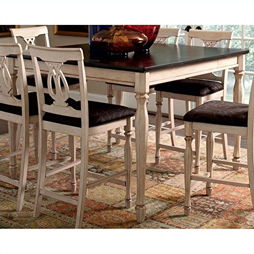Coaster Home Furnishings Transitional Counter Height Table, Antique White and Merlot (Nesting Merlot Tables)