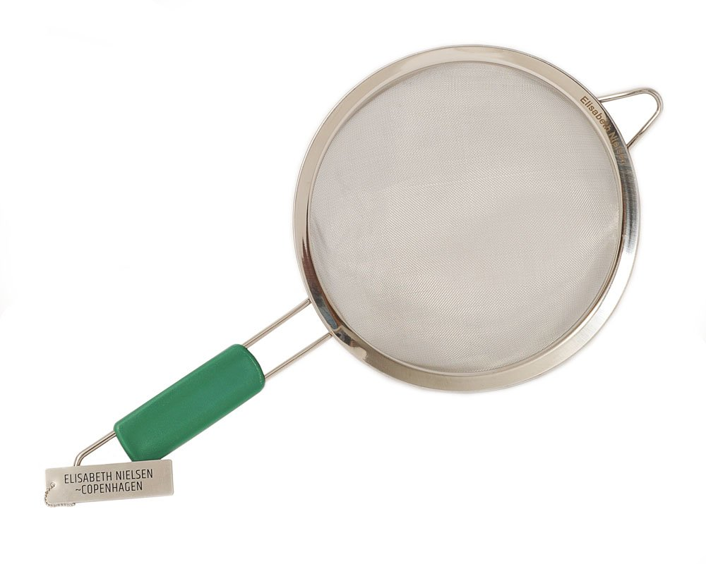 Elisabeth Nielsen Fine Mesh Strainer with Handle, Stainless Steel. Use as Pasta Strainer, Flour Sifter, for Amaranth, Quinoa Strainer, Matcha Sifter, Wide Gentle Handles