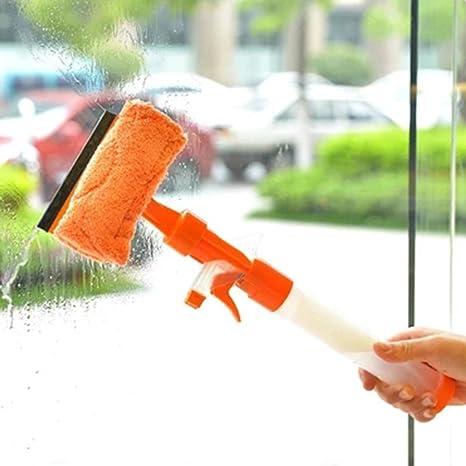 frjjthchy creativo plástico cristal limpiaparabrisas doble cara desmontable con pulverización de limpieza herramienta para oficina en