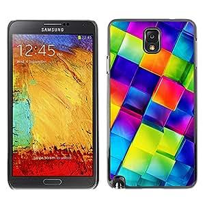 Qstar Arte & diseño plástico duro Fundas Cover Cubre Hard Case Cover para SAMSUNG Galaxy Note 3 III / N9000 / N9005 ( Polygon Crystal Blue 3D Glass Reflective)