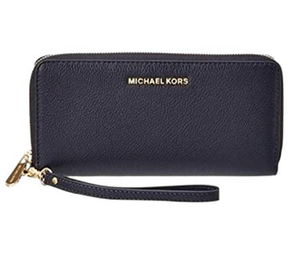 ae25ae8cade9 Image Unavailable. Image not available for. Color: Michael Kors Large  Leather Travel Continental Wristlet, Admiral Blue