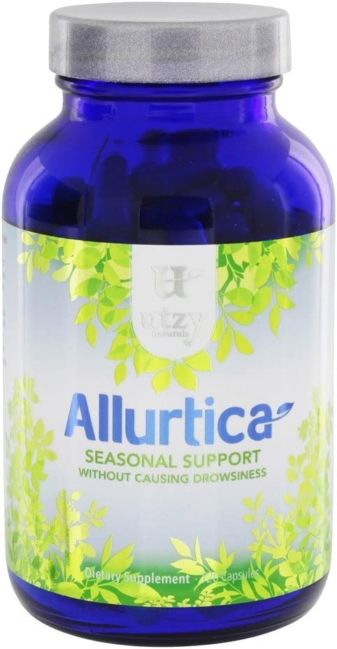 Natural Nettle Leaf Supplement Capsules – Allurtica Herbal Supplement with Quercetin and Stinging Nettle for Adults Kids Non Drowsy 120ct