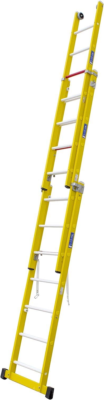 Escalera transformable de tres tramos de fibra de vidrio. Permite su uso en tijera con un tramo extensible y totalmente desplegada. Según norma UNE-EN 131. (3 tramos x 8 peldaños): Amazon.es: Bricolaje