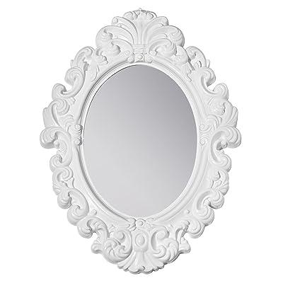 3C4G Three Cheers For Girls White Baroque Magnetic Locker Mirror / Room Mirror