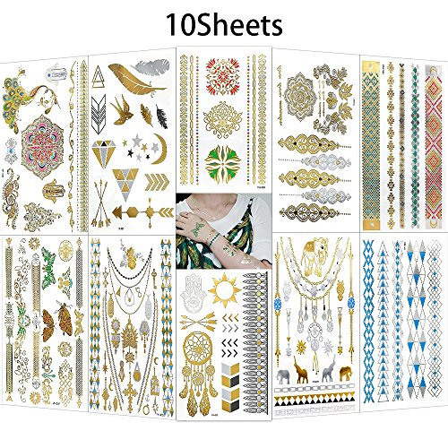 - Temporary Metallic Tattoos, AooHome 10 Large Sheets - Body Art Stickers Jewelry Inspired Tattoos Glitter Shimmer Designs Fake Tattoos
