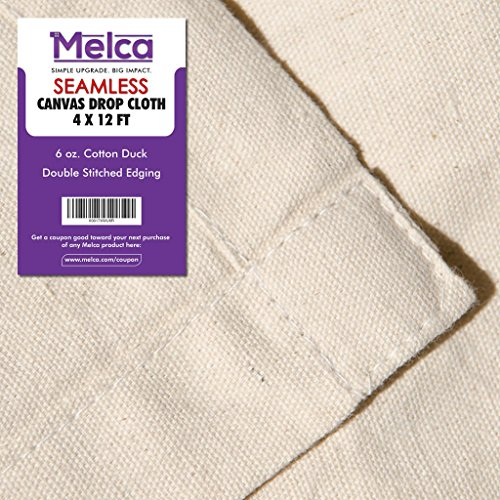 Drop Cloth Tarp Art Supplies - 4x12 Finished Size, Seams Only On The Edges, New Unmarked Fabric, Cotton Duck Fabric - Be Confident You Have The Canvas You Need. ()