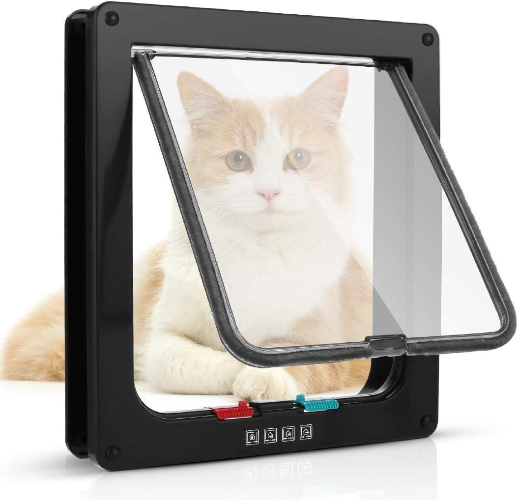 Sailnovo Puerta para Gato con Cierre magnético de 4 vías, Puerta para Mascotas para Gatos y Perros pequeños, Puerta para Gatos con túnel (marrón, XL)