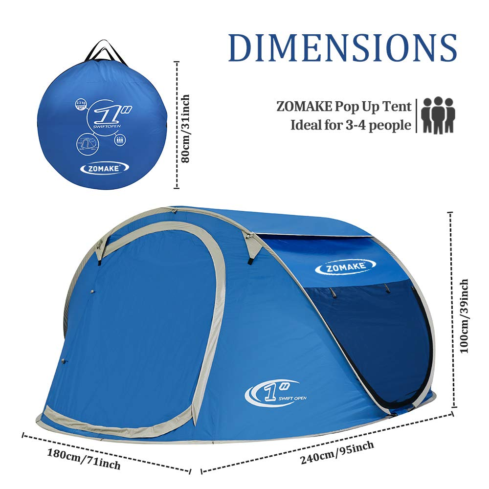 ZOMAKE Pop Up Tent 4 Person, Beach Tent Sun Shelter for Baby with UV Protection – Automatic and Instant Setup Tent for Family