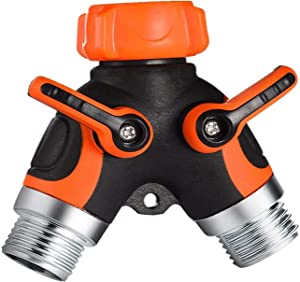 """Y Hose Splitter 2 Way, 3/4"""" Garden Hose Connector with Comfortable Rubberized Grip for Outdoor Faucet, Sprinkler & Drip Irrigation Systems,Orange"""
