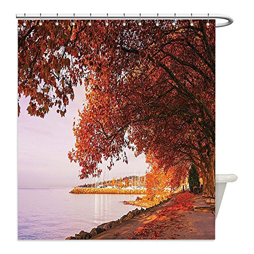 Covered Stall Chain (Liguo88 Custom Waterproof Bathroom Shower Curtain Polyester Autumn Decor Surreal Pathway Covered by Faded Fall Leaves by the Lake November Landscape Orange Lilac Decorative bathroom)