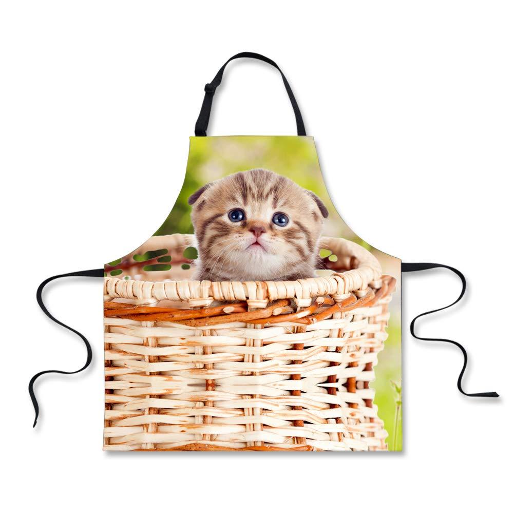 Xinind 可愛い猫エプロン 防水生地 動物柄デザイン キッチンエプロン 女性 シェフに 恋人へのギフトに  Cat 4 B07K44CSMG