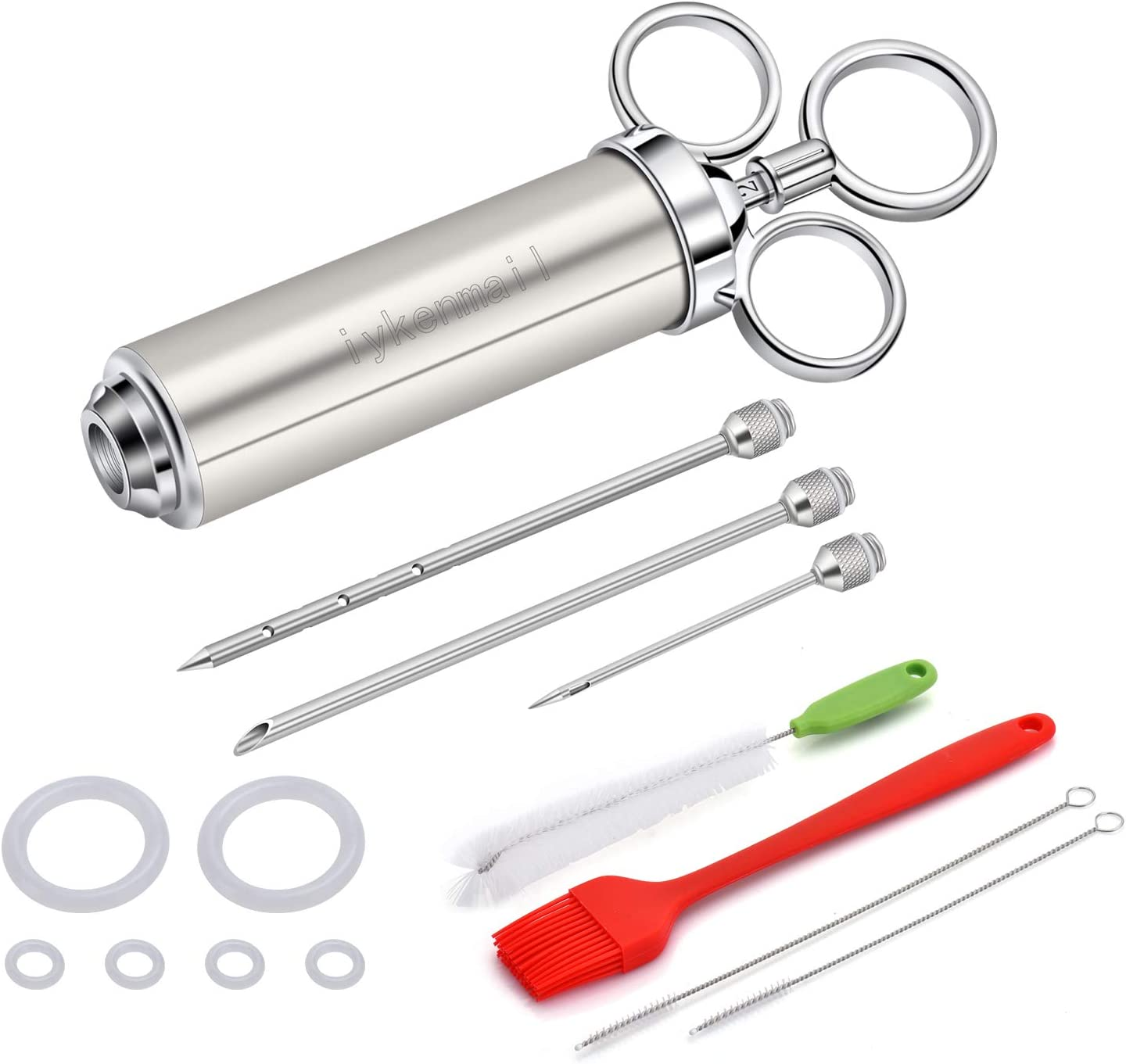 304 stainless steel injection needle syringe, 2 ounce syringe and 3 needles, used for BBQ Grill Smoker