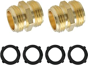 HYDRO MASTER 0712701 3/4 Inch Brass Garden Hose Adapter Double Male Quick Connector, Solid Brass 2 Pack