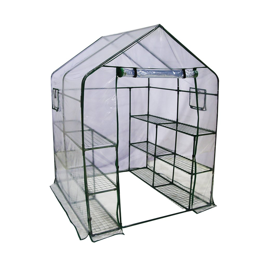 Abba Patio Mini Walk-In Greenhouse 12 Shelves Stands 3 Tiers Racks Portable Garden Green House, 56''L x 56''W x 77''H