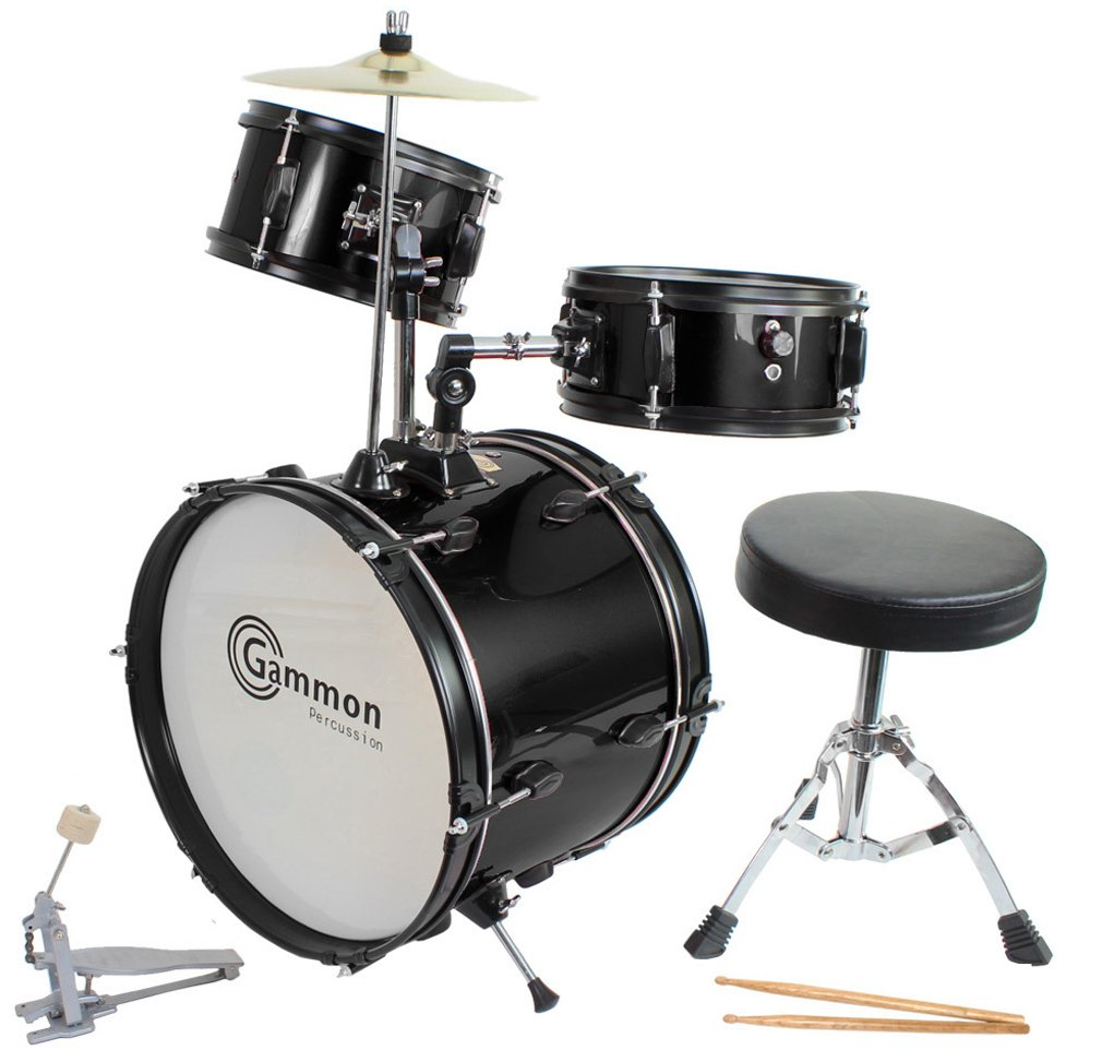 Drum Set Black Complete Junior Kid's Children's Size with Cymbal Stool Sticks - Sticks - Everything You Need to Start Playing