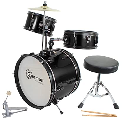 Drum Set Black Complete Junior Kid's Children's Size with Cymbal Stool Sticks - Sticks - Everything You Need to Start Playing best drum sets