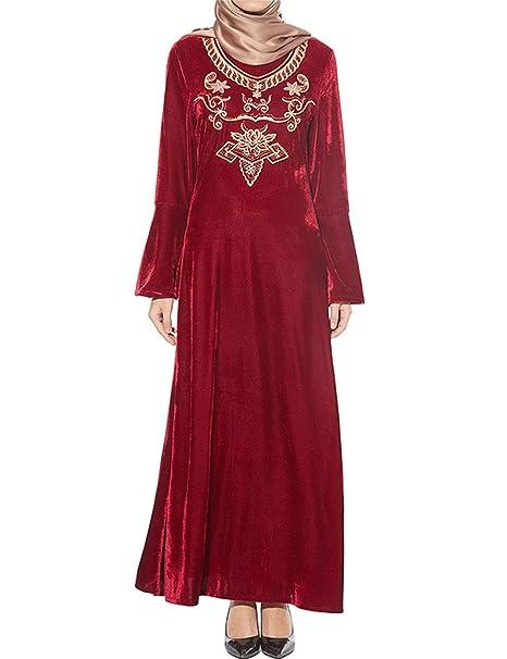 89ffa1b8a3be Qianliniuinc Kaftano Donna Lungo Abaya Dress-Maniche Lunghe Ricamo Casual  Abiti Elegante Donna Rosso  Amazon.it  Abbigliamento