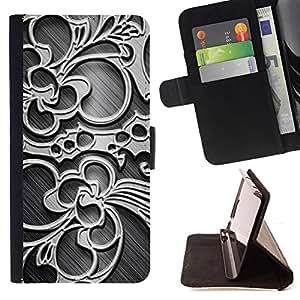 BullDog Case - FOR/Apple Iphone 4 / 4S / - / wallpaper pattern floral design art decoration /- Monedero de cuero de la PU Llevar cubierta de la caja con el ID Credit Card Slots Flip funda de cuer