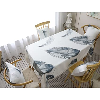 Paño de Mesa con diseño de Plumas Color Gris, Estilo nórdico, Grueso, Rectangular