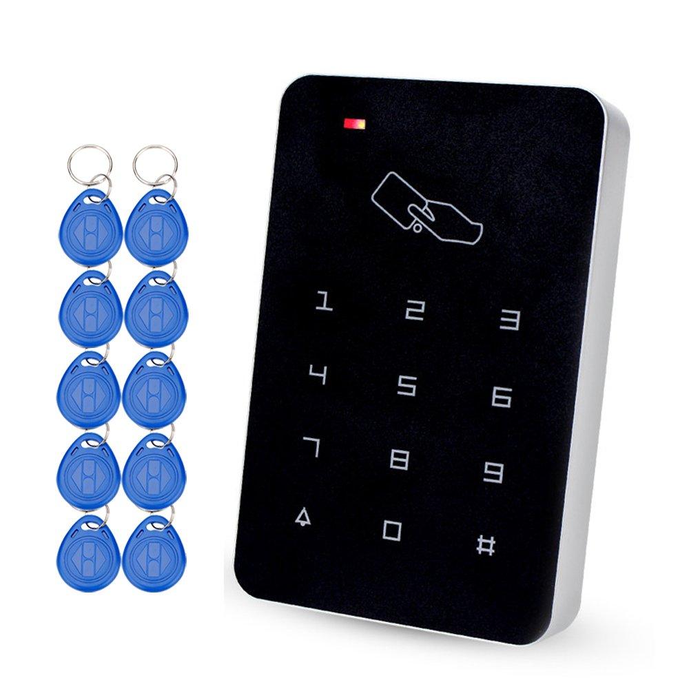 HFeng Teclado de Control de Acceso autó nomo con 10 llaveros Em RFID de Control de Acceso Tarjeta Em Lector de Tarjetas para Sistema de Seguridad de Cerradura de Puerta 1000 Capacidad de Usuario